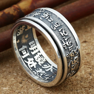 Vintage Thai Om Mani Padme Hum 925 Sterling Silver Men Buddhism Ring - Beltran's Enterprise