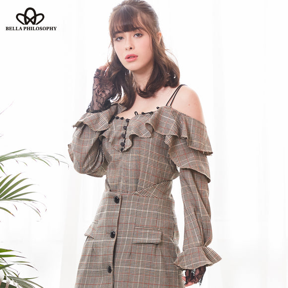 Bella Philosophy 2018 new spring women plaid shirts button vintage flounced shoulder straps short shirts fashion sexy shirt tops - Beltran's Enterprise