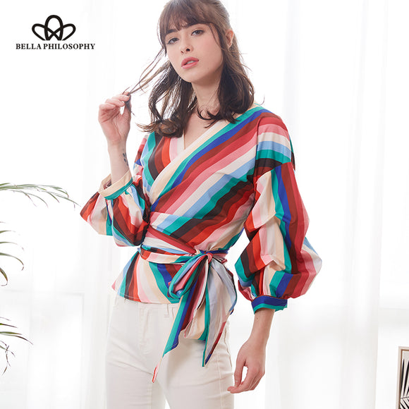 Bella Philosophy 2018 Spring Women Multi color Blouse Long Lantern Sleeve Sweet Striped Blouse Sashes V Neck Blouse Plus Size - Beltran's Enterprise