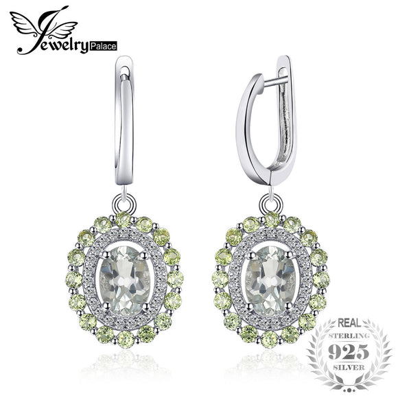 JewelryPalace Vintage 2.4ct Natural Green Amethyst Peridot Clip Earrings 925 Sterling Silver Fashion Women Wedding Fine Jewelry - Beltran's Enterprise