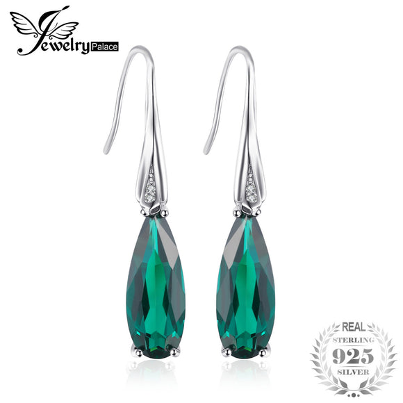 JewelryPalace Water Drop 4.1ct Created Emerald Drop Dangle Earrings 925 Sterling Silver Earring for Women Fashion - Beltran's Enterprise