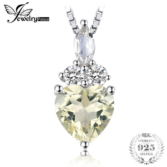 JewelryPalace 1.4ct Genuine Gemstone Lemon Quartz and White Topaz Pendant Necklace 925 Sterling Silver 45cm Box Chain - Beltran's Enterprise