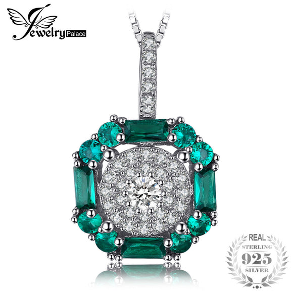 JewelryPalace 0.9ct Created Nano Russian Emerald Birthstone Pendant Necklace 925 Sterling Silver  New Gift Wihtout Chain - Beltran's Enterprise
