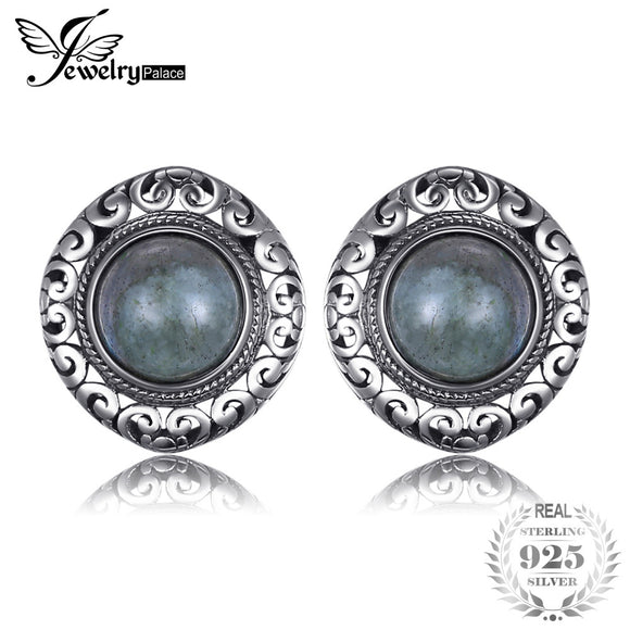 JewelryPalace Vintage 2.4ct Genuine Labradorite Carved Stud Earrings 925 Sterling Silver New Fine Jewelry Outstanding For Women - Beltran's Enterprise
