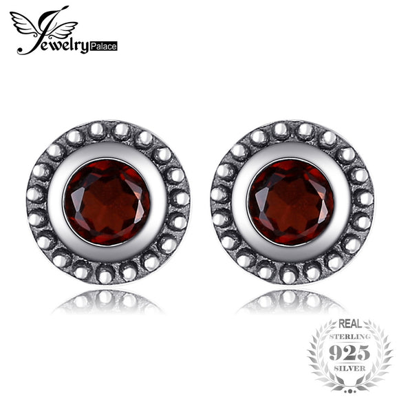 JewelryPalace Vintage 0.66ct Genuine Garnet Studs Earrings 100% Real 925 Sterling Silver Fine Jewelry Birthday Gift For Lovers - Beltran's Enterprise