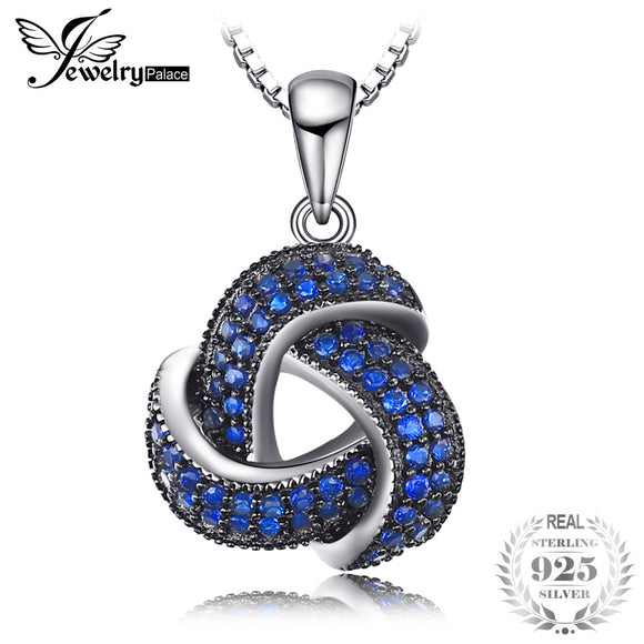 JewelryPalace 0.5ct Created Blue Spinel Flower Wraparound Cluster Pendant Necklace 925 Sterling Silver 45cm Box Chain for Women - Beltran's Enterprise