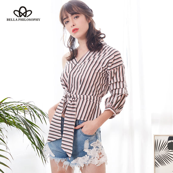 Bella Philosophy 2018 Spring Sexy One Shoulder Striped Shirt Blouse Women Casual Sashes Plaid Shirt Streetwear Blouse Blusas - Beltran's Enterprise