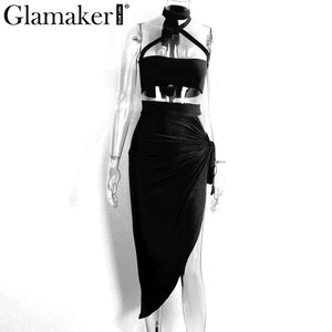 Glamaker Halter two piece split sexy women dress Elegant evening party dress vestidos - Beltran's Enterprise