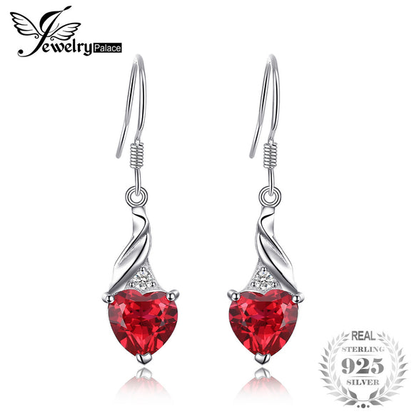 JewelryPalace Vintage 0.4ct Round Created Red Ruby Pave Stud Earrings 925 Sterling Silver Wedding Fine Jewelry New Arrival - Beltran's Enterprise
