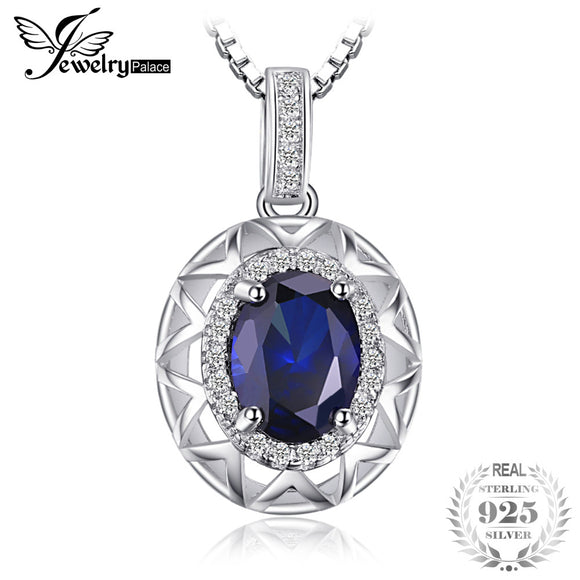 JewelryPalace Unique Design 1.5ct  Blue Created Sapphire 925 Sterling Silver Pendant Necklace 45cm Chain for Women Fine Jewelry - Beltran's Enterprise