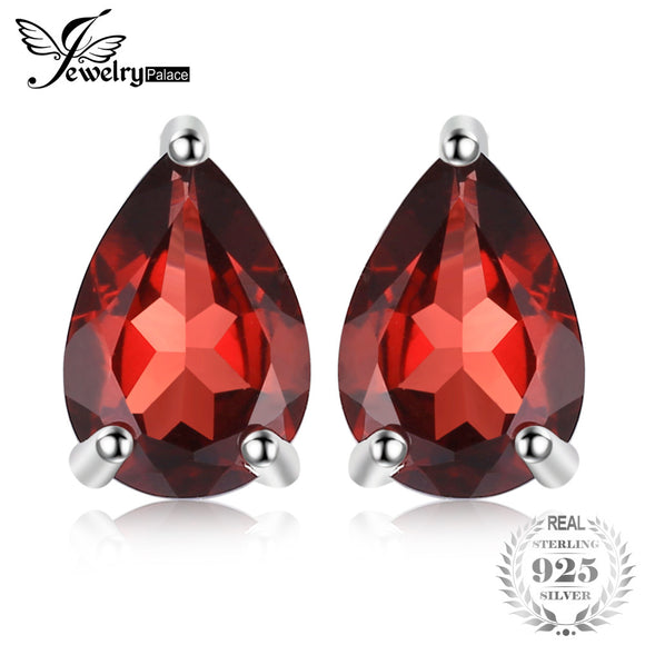 JewelryPalace Water Drop 1.8ct Natural  Garnet Solid 925 Sterling Silver Stud Earrings For Women Fashion Party Fine Jewelry - Beltran's Enterprise