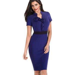 Nice-forever Vintage Elegant Contrast Color Patchwork Wear to Work Rose vestidos Bodycon - Beltran's Enterprise
