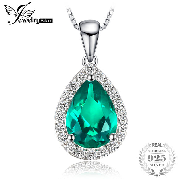 JewelryPalace 0.7ct Water Drop Created Emerald Necklaces Pendants Solid 925 Sterling Silver 45cm Box Chain Fashion Fine Jewelry - Beltran's Enterprise
