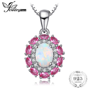 JewelryPalace 0.9ct Created Opal Inlay Pink Sapphire Necklaces Pendants For Women 925 Sterling Silver Box Chain Wedding Jewelry - Beltran's Enterprise
