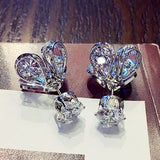 925 Silver Crystal from Swarovski for Women Fashion Fire Opal Earrings - Beltran's Enterprise