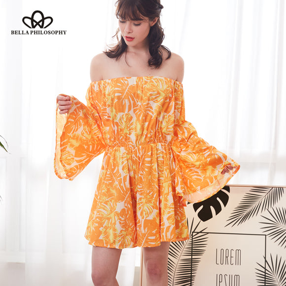 Bella Philosophy 2018 women spring casual off shoulder printed jumpsuits sexy short floral playsuits fashion lace up playsuits - Beltran's Enterprise