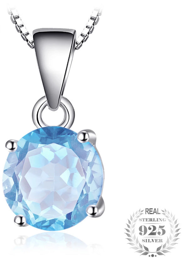JewelryPalace 2.4ct Natural stone Sky Blue Topaz Pendant Round Cut Solid - Beltran's Enterprise