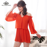 Bella Philosophy 2018 spring women casual loose jumpsuits trumpet sleeve female fashion rompers backless ladies sexy rompers - Beltran's Enterprise