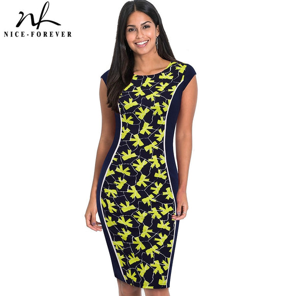 Nice-Forever Career Elegant Slim Design Abstract Dots Fitted Dress Summer - Beltran's Enterprise