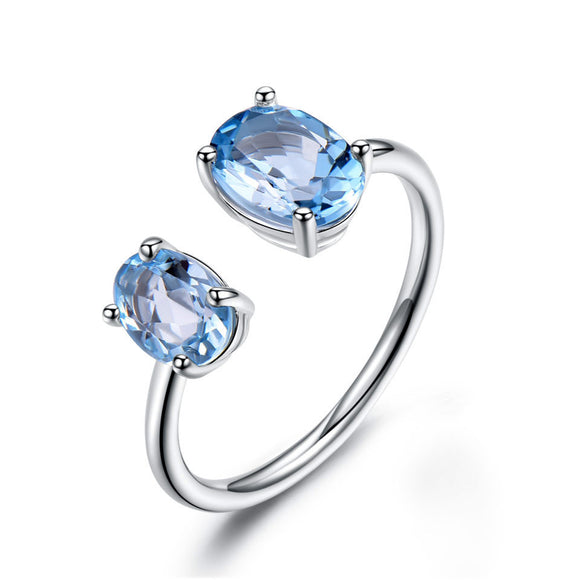 10.7ct Natural Sky Blue Topaz Gemstone Solid 925 Sterling Silver Rings - Beltran's Enterprise