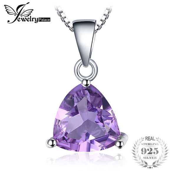 JewelryPalace Trillion 1.6ct Natural Purple Amethyst Birthstone Pure 925 Sterling Silver Solitaire Pendant Necklace 45cm chain - Beltran's Enterprise