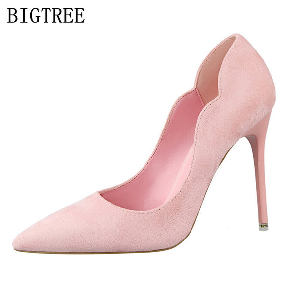 women elegant shoes extreme high heels zapatos mujer salto alto flock bigtree shoes valentine shoes - Beltran's Enterprise