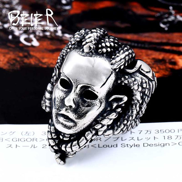 BEIER 2018 new 316L Stainless Steel Men's The snake medusa Ring For Man Cool Fashion Skull Punk - Beltran's Enterprise