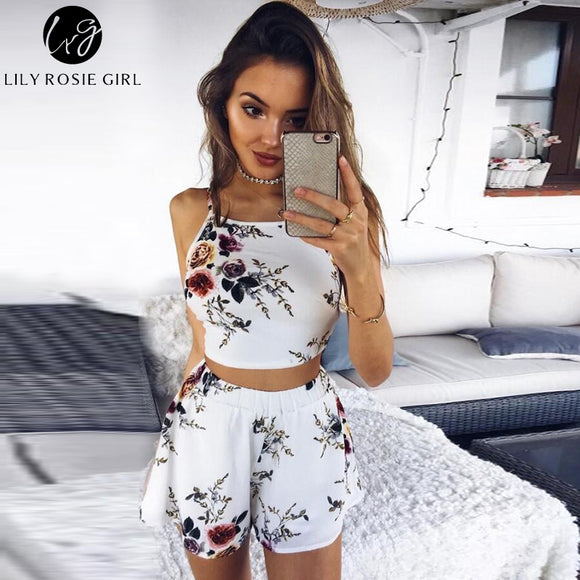 Lily Rosie Girl Two Piece White Floral Boho Backless Sexy Women Jumpsuit Bow Summer Beach Party Playsuit Short Rompers Overalls - Beltran's Enterprise