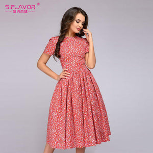 S.FLAVOR  Women Elegant A-line Dress 2018 New Boho Small Flower printing - Beltran's Enterprise