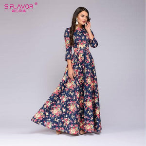 S.FLAVOR 2018 New Female Spring Floral Print Long Dress Autumn - Beltran's Enterprise