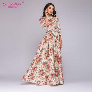 S.FLAVOR Women Spring Summer Vintage Long Dress Retro - Beltran's Enterprise