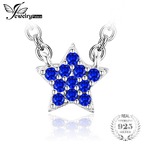 JewelryPalace 0.35ct Created Blue Spinel Star Necklace 925 Sterling Silver Jewelry Necklace & Pendant Fine Jewelry - Beltran's Enterprise