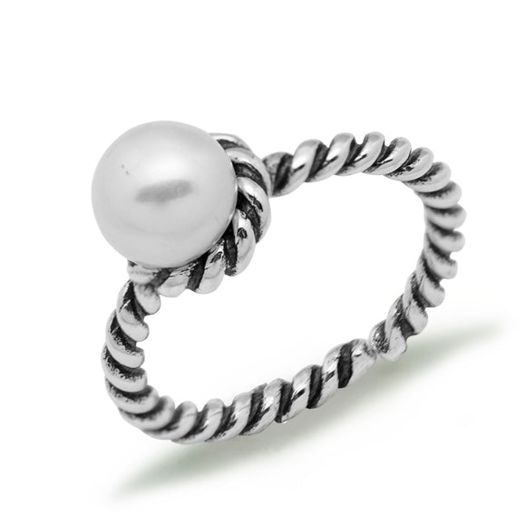 Half Round Natural  Pearl/Twisted Flower 925 Sterling Silver Adjustable Ring - Beltran's Enterprise