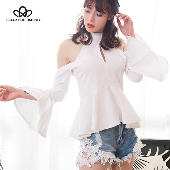 Bella Philosophy 2018 summer halter women blouse flare sleeve cold shoulder female shirt cut out ruffles casual blusas - Beltran's Enterprise