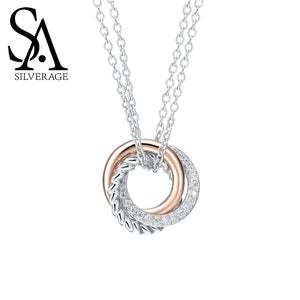 SA SILVERAGE 925 Sterling Silver Long Necklaces Pendants Rose Gold Color Fine Jewelry Love 925 Silver Maxi Pendant Necklace - Beltran's Enterprise