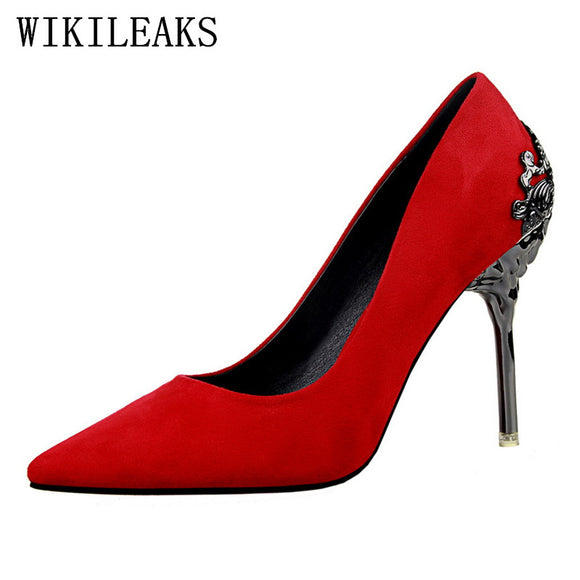 Fretwork Metal Decoration red high heels women sexy wedding bigtree shoes chaussure femme talon bridal - Beltran's Enterprise
