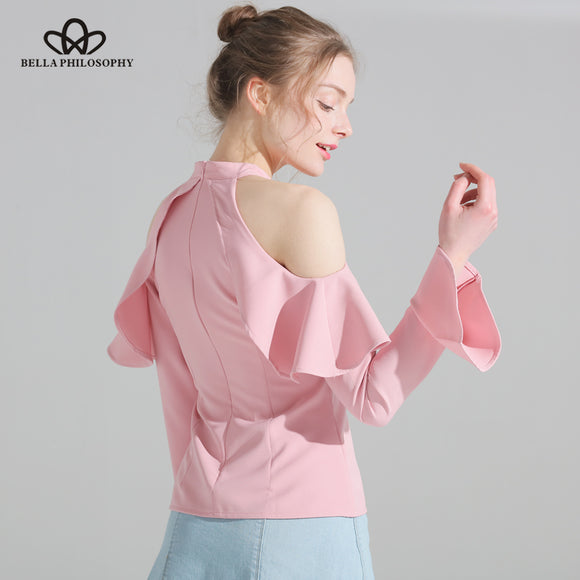 Bella Philosophy 2018 spring summer new ruffles halter neck off shoulder flare sleeve chiffon women shirt blouse - Beltran's Enterprise