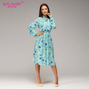 S.FLAVOR Women casual knee-length dress 2018 new arrival long sleeve printing summer dress - Beltran's Enterprise