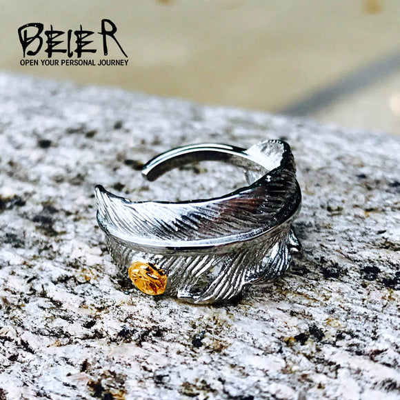BEIER 2017 Stainless Steel Fashion Takahashi Plating white Feather Open Gold Eagle Ring - Beltran's Enterprise