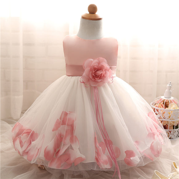Newborn Baby Petals Gown Tulle Toddler Flower Girl Wedding Dress Bebes Christening - Beltran's Enterprise