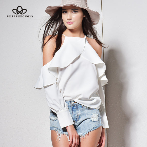 Bella Philosophy 2018 new spring summer ruffle blouse shirt halter neck cami cold off shoulder top women chiffon blusa feminina - Beltran's Enterprise