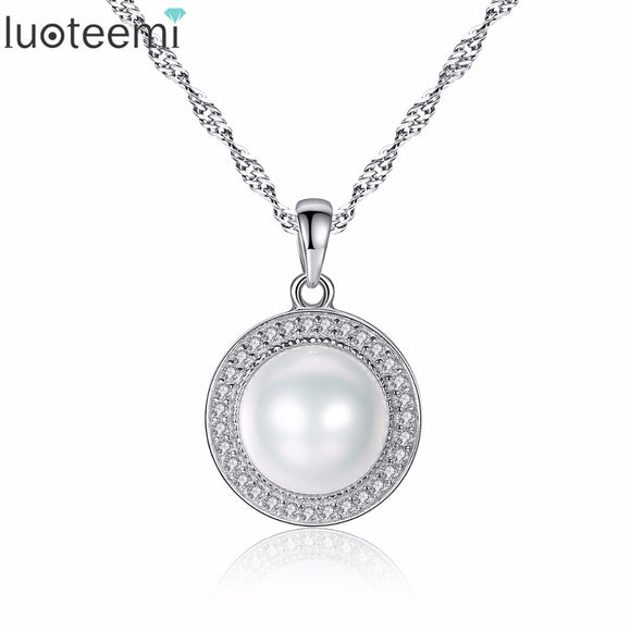 LUOTEEMI Noble Charm Fascination Enchantment Sterling Silver Round Freshwater Natural - Beltran's Enterprise