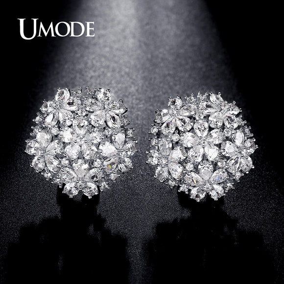 892c66bd653 UMODE 4.5mmX3mm Pear Cut Cluster Cubic Zirconia French Clip Stud Earrings  Jewelry for Women Fashion