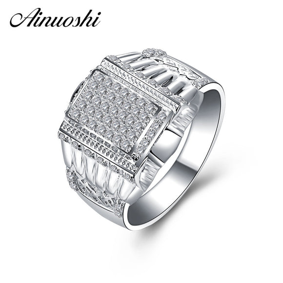 AINOUSHI Classic 925 Sterling Silver Men Wedding Engagement Rings Sona High Quality - Beltran's Enterprise