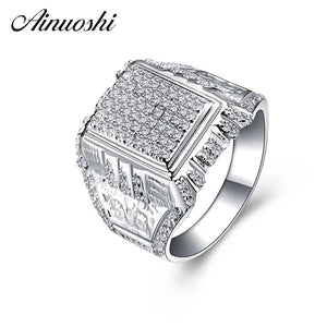 AINOUSHI 925 Sterling Silver Men Wedding Engagement Rings Sona Male Silver - Beltran's Enterprise