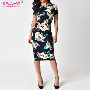 S.FLAVOR 2018 Women Summer Dress Sexy Short Sleeve O Neck Pencil - Beltran's Enterprise