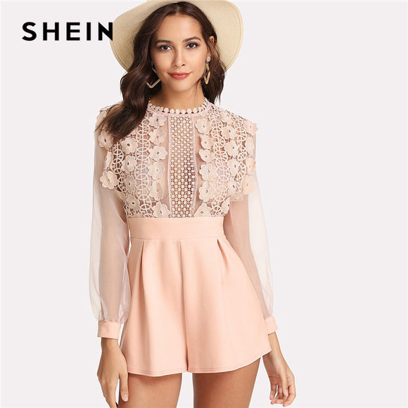 SHEIN Pink Pastel Floral Lace Rompers Womens Jumpsuit Sexy Jumpsuits High Waist Wide Leg Applique See Through Bodice Romper - Beltran's Enterprise