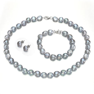 RNUEN 10-11mm AAA Grey Baroque Pearl Set Fine Pearl Jewelry Sets - Beltran's Enterprise