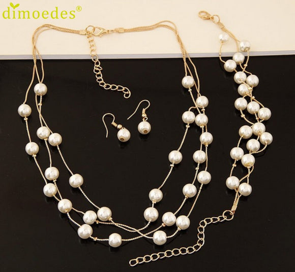 Fashion Lady Wedding Simulated Pearl Jewelry Sets Short Necklace - Beltran's Enterprise