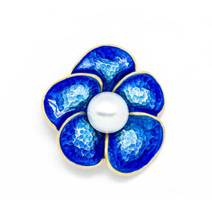 Blue Enamel Lotus Flower Natural White Pearl Silver Golden Pendant - Beltran's Enterprise
